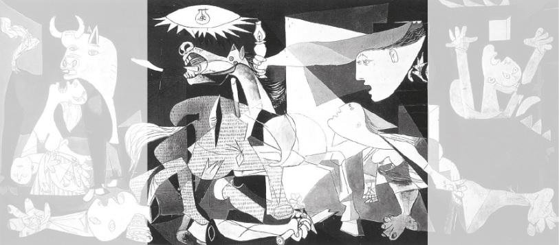 A lâmpada, dentro de uma forma que lembra um olho, emite luz sobre o cavalo que parece se debater aflito, sugerindo sofrimento.