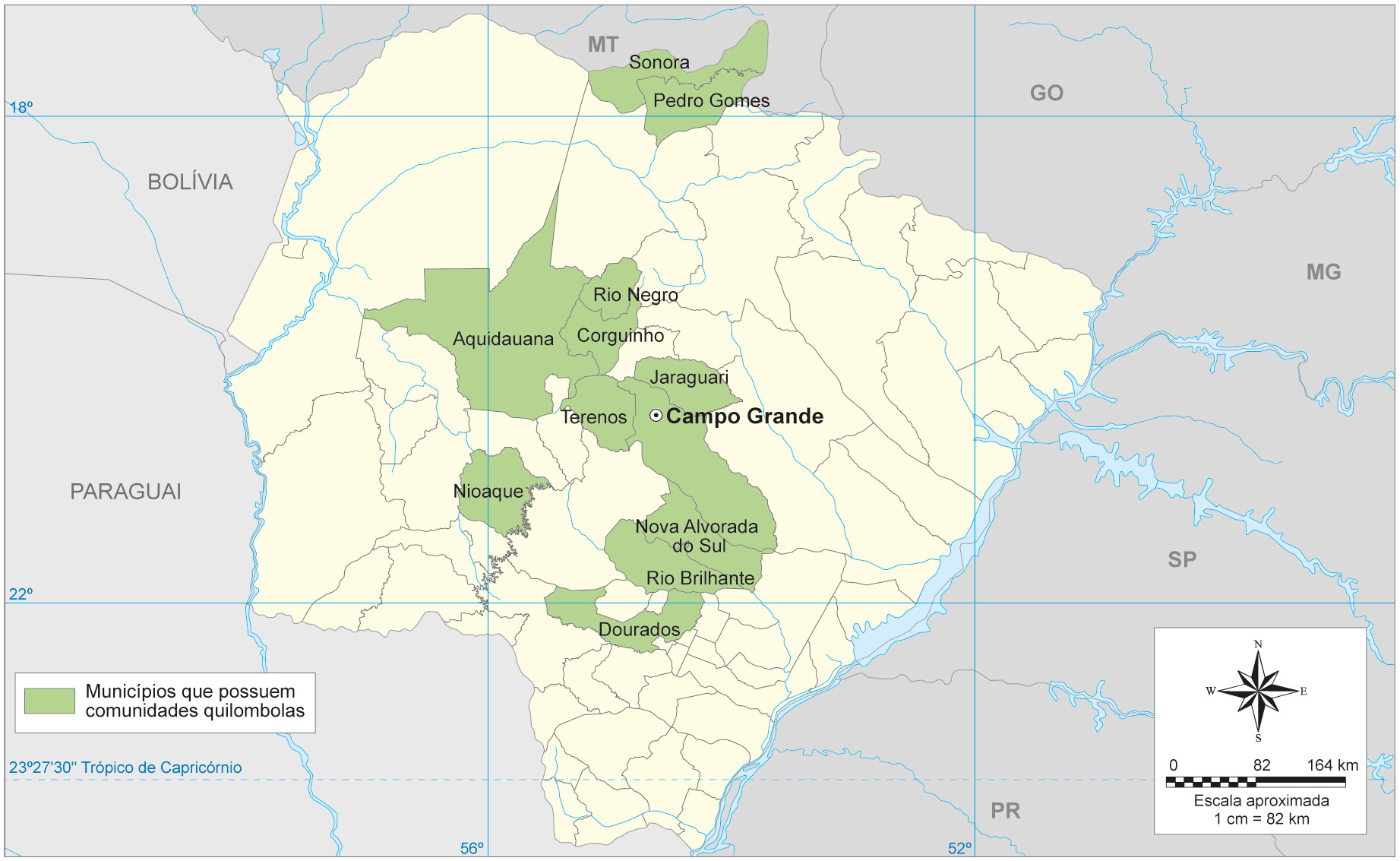 Comunidades rurais quilombolas no Mato Grosso do Sul - Mapa
