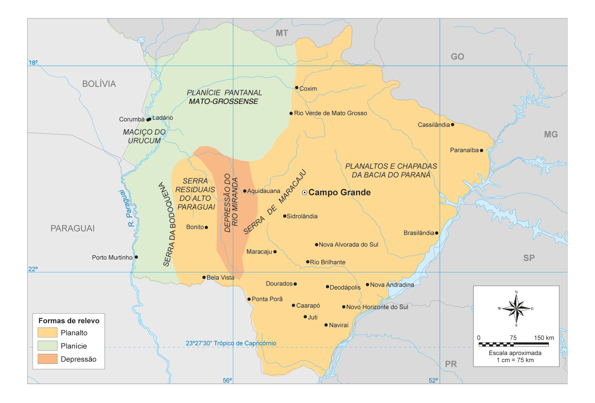 Relevo do Mato Grosso do Sul