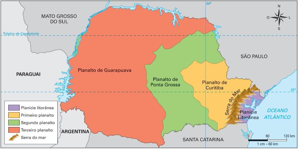 Mapa do relevo do Paraná