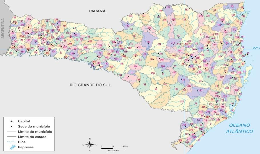 Mapa político de Santa Catarina