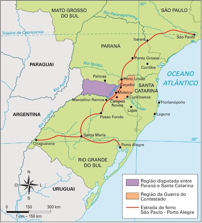 Mapa da Guerra do Contestado (1912-1916)