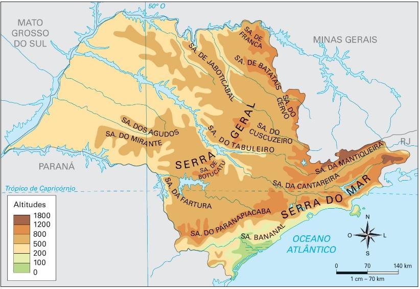 Relevo de São Paulo - SP - Mapa